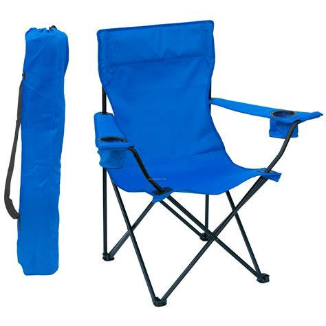 Folding Bag Chair by Folding Chair W Arm Rests 2 Cup Holders And Carry Bag