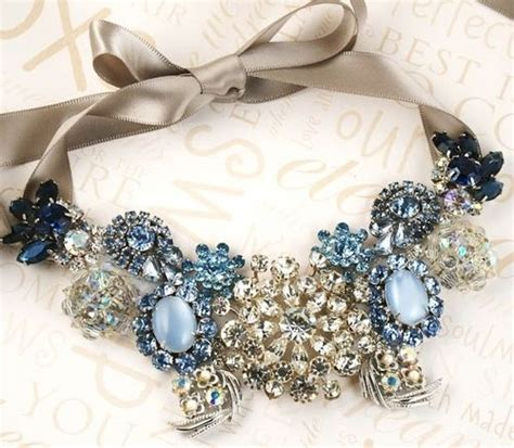 make costume jewelry gorgeous necklace with blue diamonds stones pictures