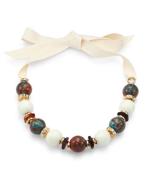 ribbon for jewelry marc by marc beaded ribbon necklace in white for