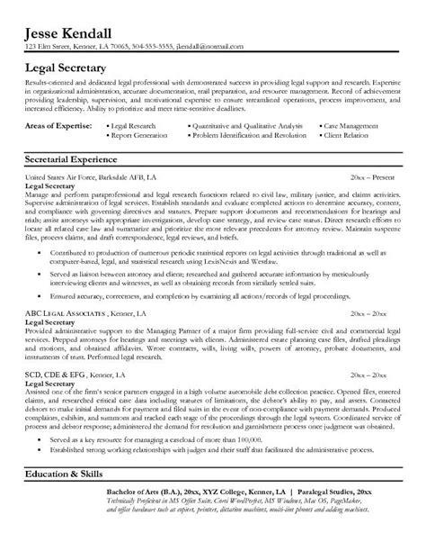 example legal secretary resume free sample