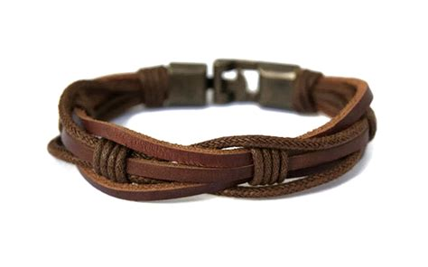 leather wristbands for mens leather bracelet for guys brown braided rope mens