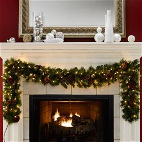 pre lit fireplace garland 2 7m 9ft pre lit artificial garland with clear lights