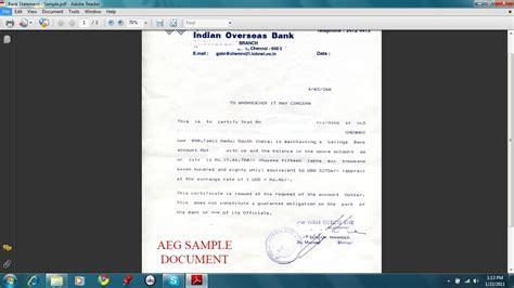 bank statement for us universities sample