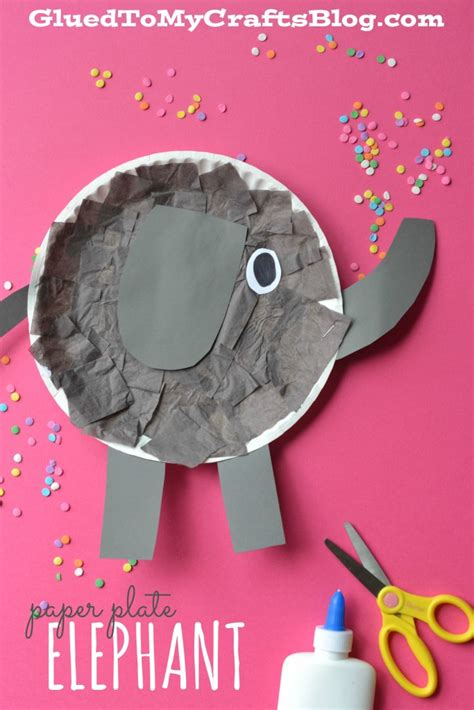 elephant paper craft paper plate elephant kid craft glued to my crafts