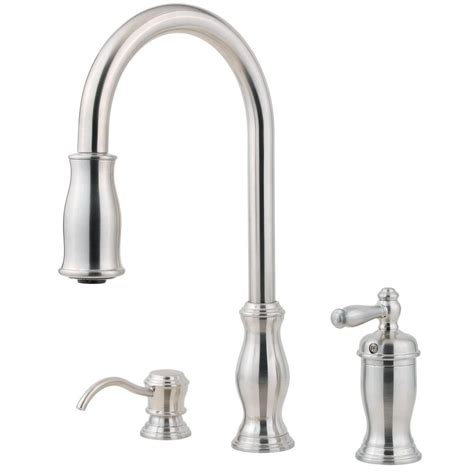stainless steel kitchen faucet with pull spray schon 925 series 2 handle pull sprayer bridge kitchen faucet with soap dispenser in