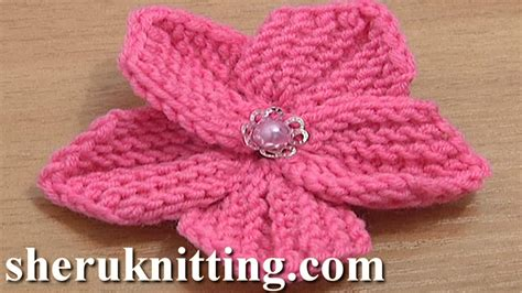 knitted flower beautiful five petal flower to knit tutorial 10 knitting