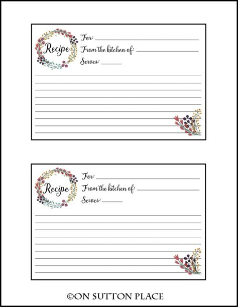 card for free to print recipe card free printable