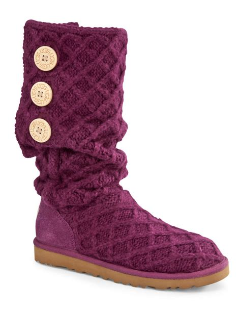 knitted boots with buttons ugg lattice button knit boots in purple purple fabric lyst