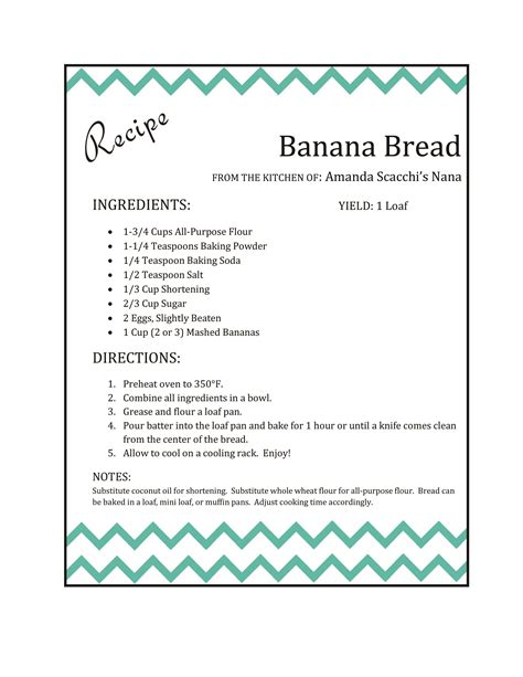 how to make recipe cards on word banana bread nana s recipe makeover the scacchi house