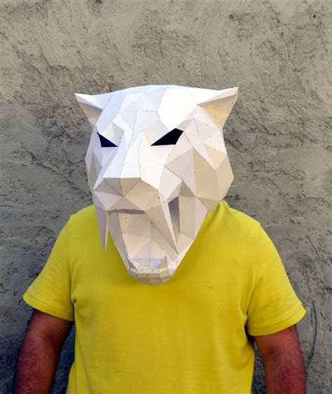 paper craft mask make your own sabertooth tiger mask papercraft