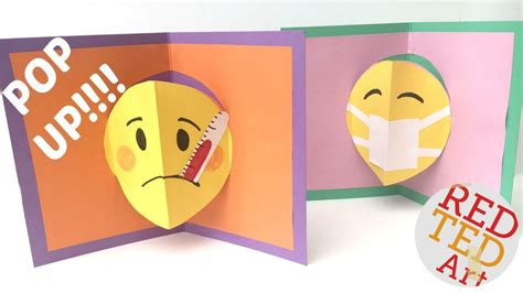how to make a get well soon pop up card emoji diy easy pop up card get well soon
