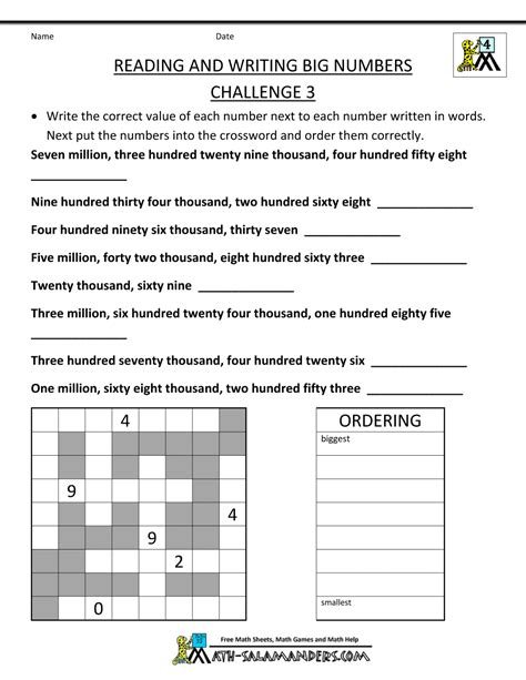 for 4th graders 4th grade math worksheets reading writing and rounding