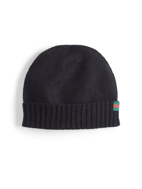 black knit hat gucci knit hat in black for lyst
