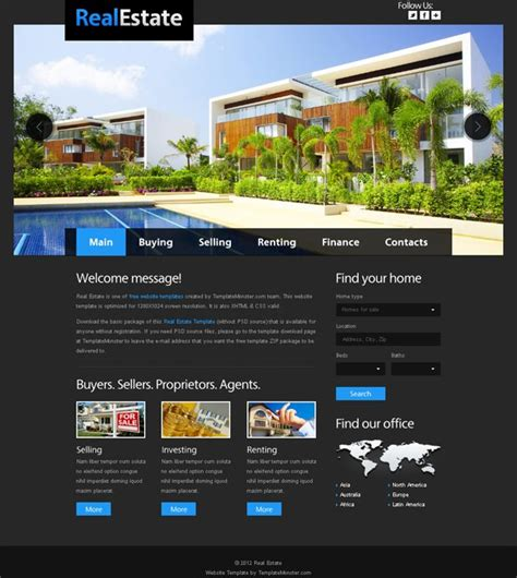 free site free website template for real estate with justslider