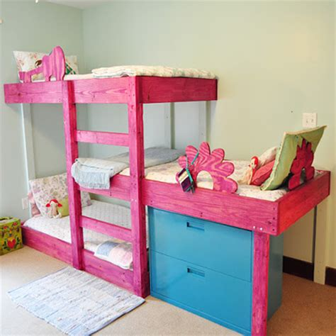 three way bunk bed project plans diy 3 level bunk beds tools4wood