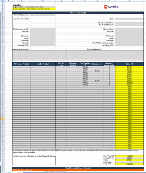 feuille de calcul bon de commande excel