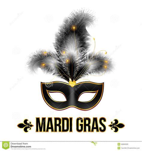 black mardi gras black mardi gras carnival mask with feathers stock vector