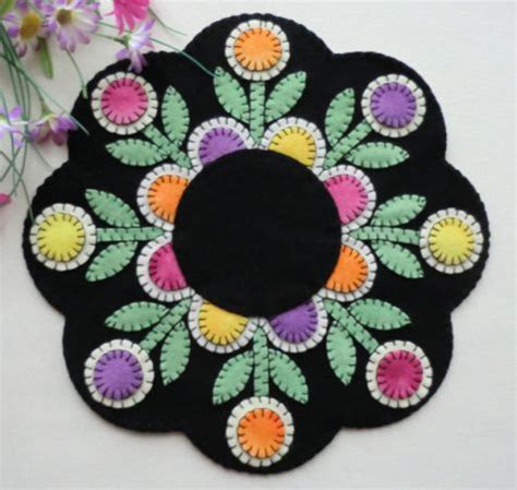 Penny Rugs Free Patterns by Penny Posies Wool Applique Penny Rug Candle Mat Pattern