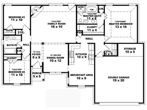5 bedroom floor plans 1 story one story house plans 4 bedrooms