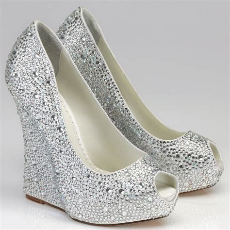 beaded wedding wedges silver rhinestone wedge shoes above gt gt silver wedge