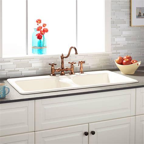 cast iron kitchen sink 43 quot selkirk bisque bowl cast iron drop in kitchen