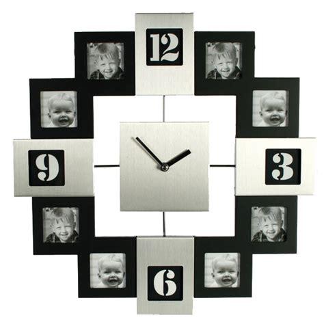 horloge cadre photo silver et