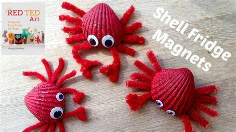 seashell crafts sea shell crafts crab fridge magnets diy seashell