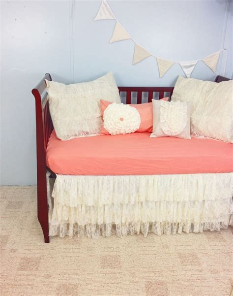 lace crib bedding lace baby crib bedding salmon pink and ivory ruffled
