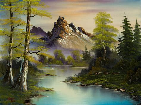 bob ross paintings buy mountain evening painting by c im 225 genes so 241 adas