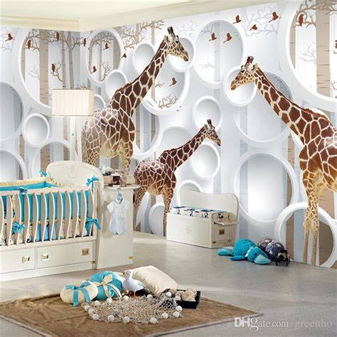 Cheap Wall Murals Wallpaper unique 3d view giraffe photo wallpaper cute animal wall