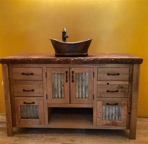 rustic wood bathroom vanity rustic vanity 48 reclaimed barn wood w tin doors