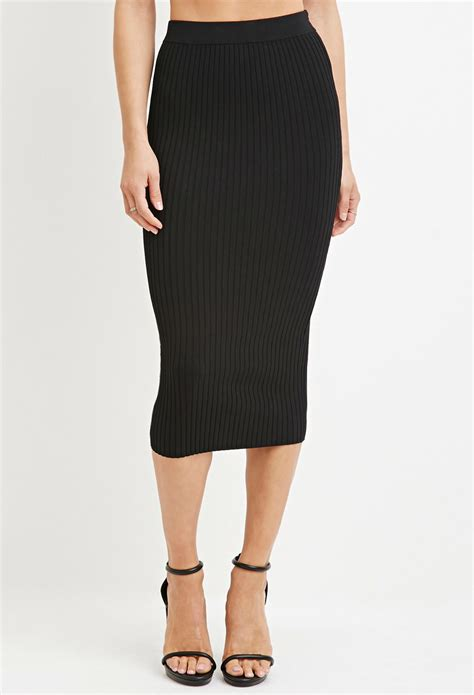 knit pencil skirt forever 21 contemporary ribbed knit pencil skirt in black