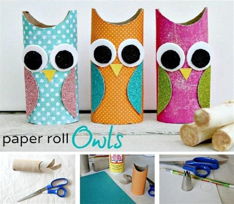 crafts with paper towel rolls and easy owl decoration from an empty paper towel