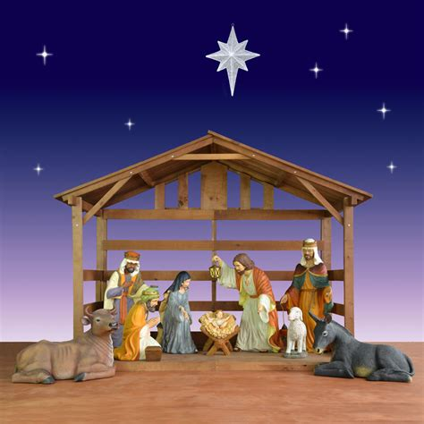 outdoor creche world nativity cr 233 che w stable 40 quot 10 set