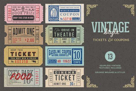 vintage tickets amp coupons bundle graphics on creative market
