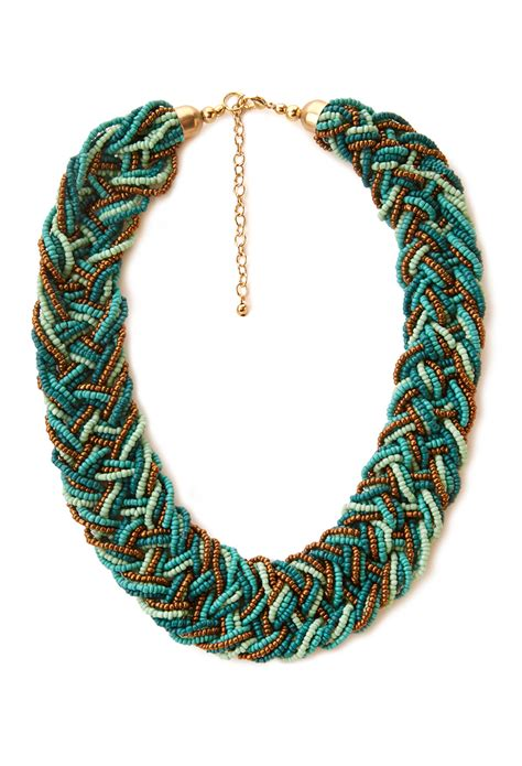 beaded braided necklace forever 21 eclectic braided bead necklace in blue lyst
