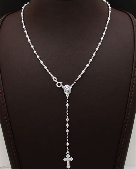 rosary chain for jewelry 24 quot cut bead rosary cross chain necklace