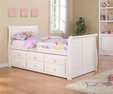 white captains bed sleigh captains trundle bed white bedroom furniture