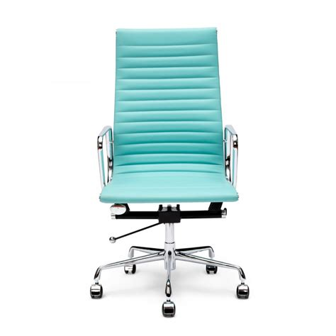Desk Chairs by Charles Eames Style Turquoise Ribbed Office Chair