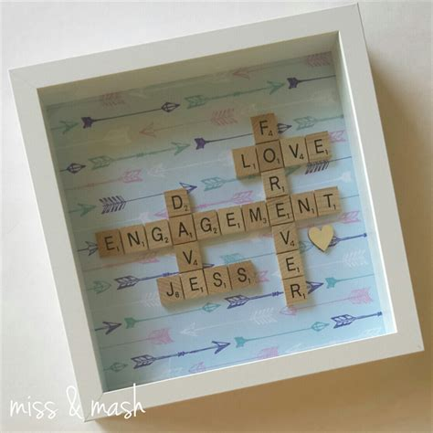 scrabble presents custom made wedding engagement name frame personalised