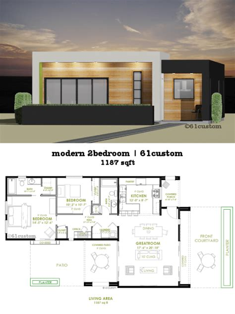 two bedrooms house plans designs modern 2 bedroom house plan 61custom contemporary