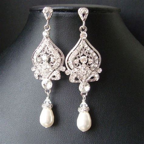 chandelier pearl earrings for wedding style bridal earrings white ivory pearl and
