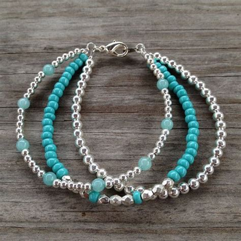 pics of beaded bracelets inspiration photo strand teal silver simple