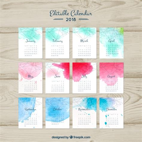 2018 watercolor calendar with geometric shapes vector