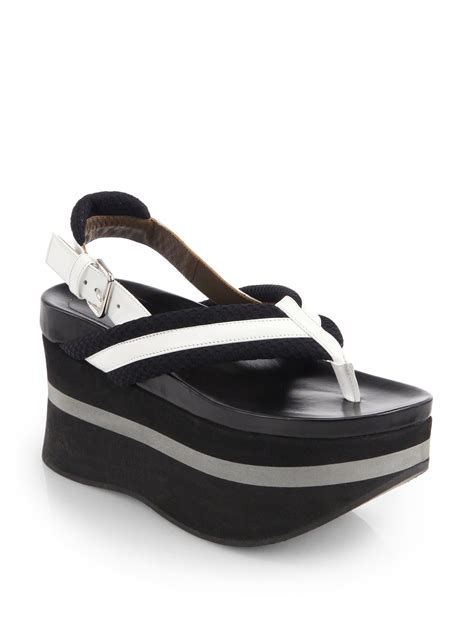 leather platform sandals marni patent leather canvas platform sandals in white black white lyst