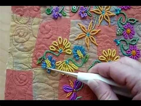 beading on fabric tutorial beadcreative make beaded flowers and leaves on fabric