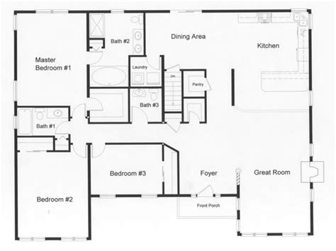 floor plans for a three bedroom house 3 bedroom ranch house open floor plans three bedroom two