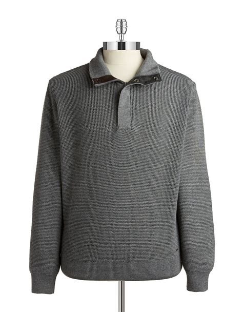gray knit sweater bugatti knit henley sweater in gray for grey lyst