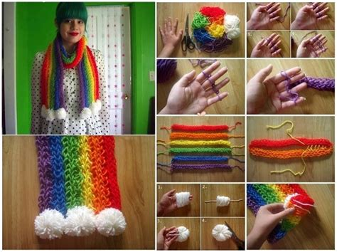 how to finger knit a scarf diy finger knitted rainbow scarf home design garden