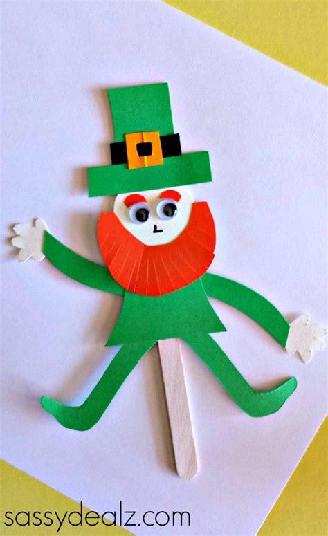leprechaun toilet paper roll craft popsicle stick leprechaun puppet craft for st s